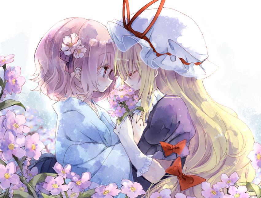 yakumo yukari and saigyouji yuyuko (touhou) drawn by