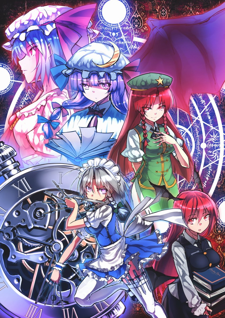 hong meiling, izayoi sakuya, koakuma, patchouli knowledge, and remilia scarlet (touhou) drawn by siqi (miharuu)