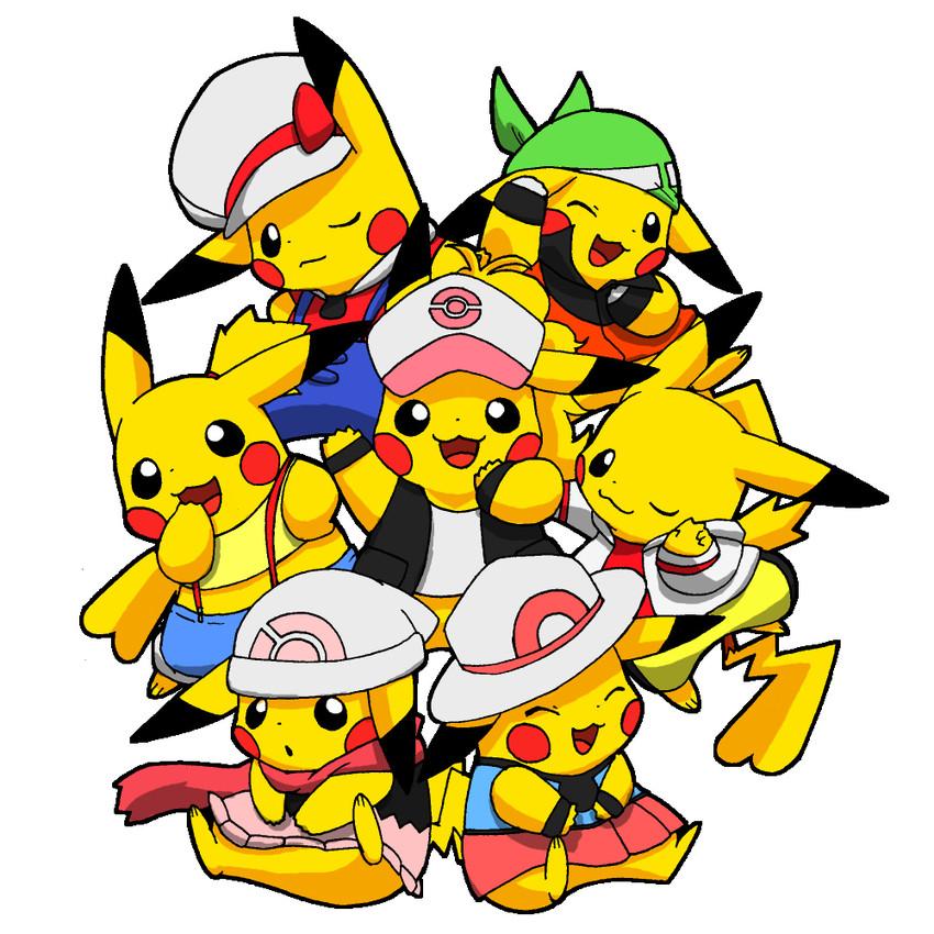 blue, crystal, haruka, haruka, hikari, and others (pokemon, pokemon (anime), pokemon (classic anime), pokemon (game), pokemon bw, and others) drawn by pokachuu