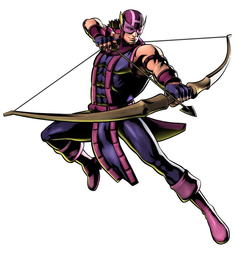 clint barton and hawkeye (marvel, marvel vs. capcom, and marvel vs. capcom 3) drawn by mori toshiaki