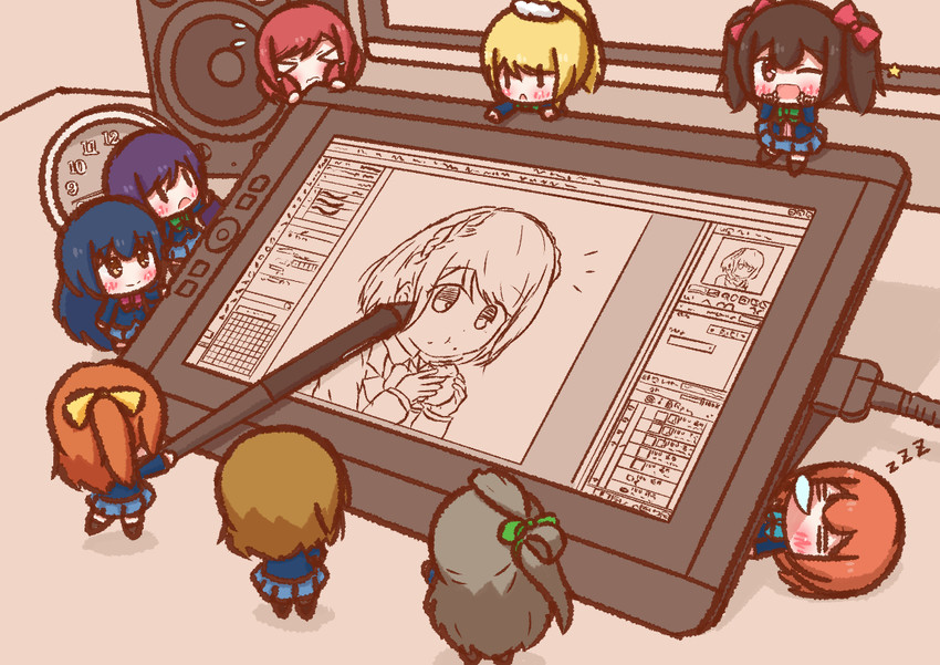 ayase eli, hoshizora rin, koizumi hanayo, kousaka honoka, minami kotori, and others (clip studio paint, love live!, and love live! school idol project) drawn by p-man-p-man