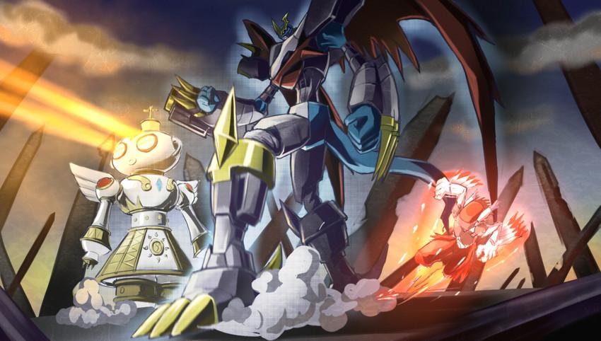 imperialdramon fighter mode, silphymon, and shakkoumon ...