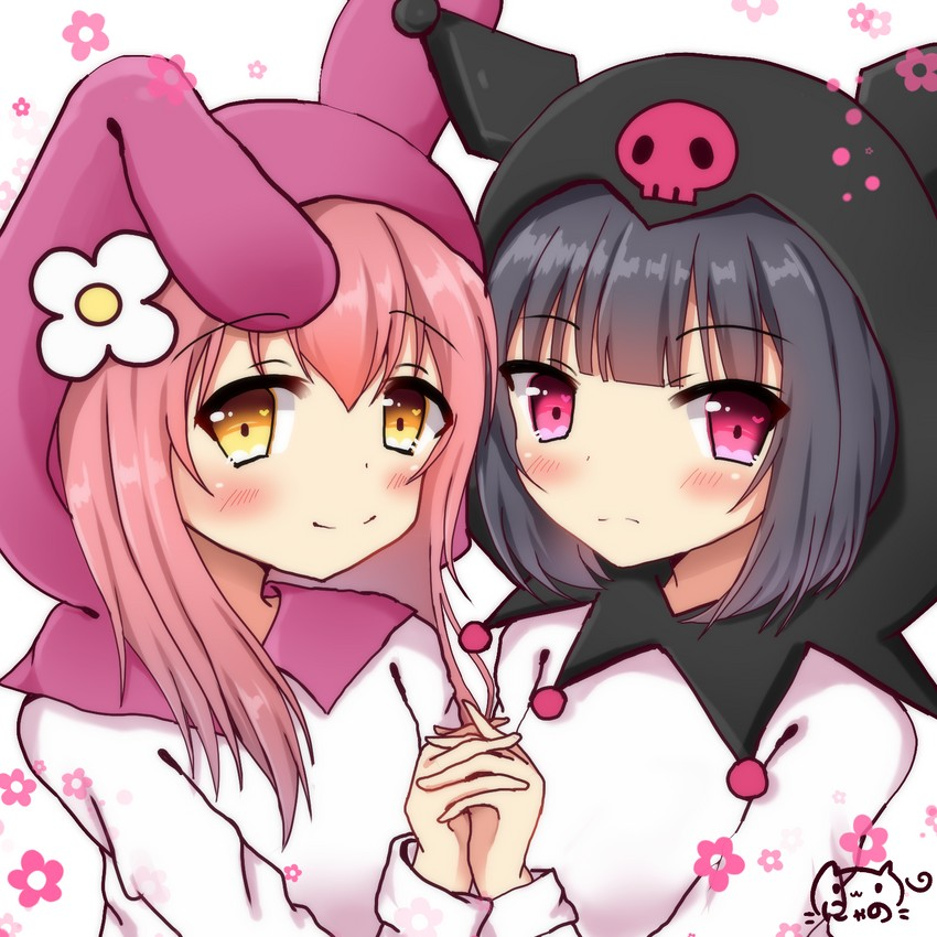 my melody and kuromi (onegai my melody) drawn by nyano21 ...