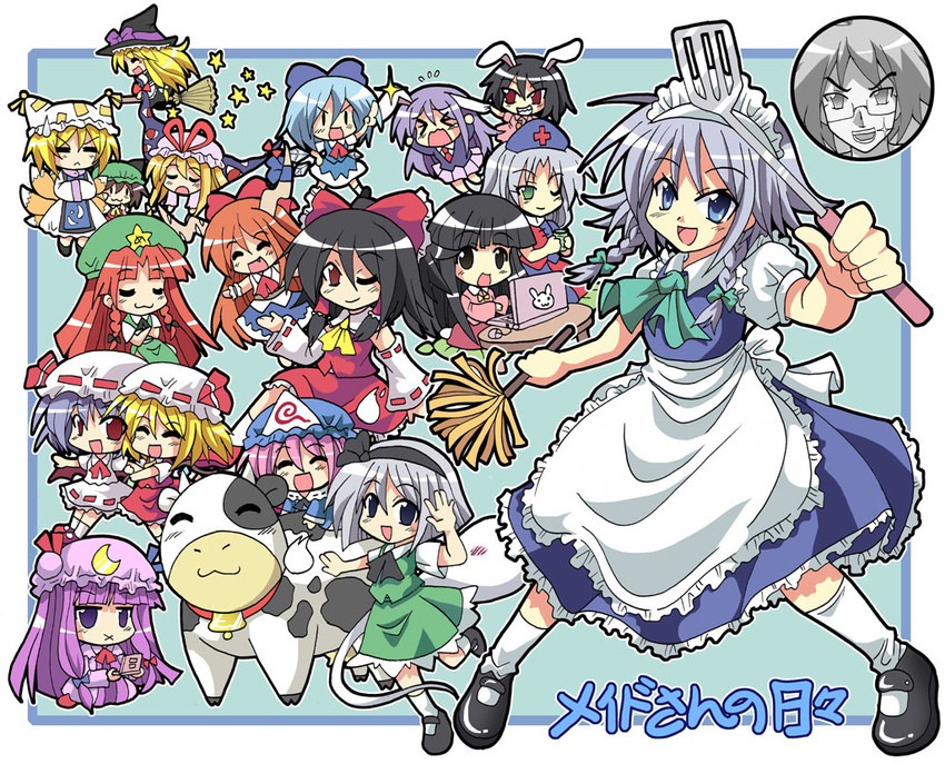 chen, cirno, cow, flandre scarlet, hakurei reimu, and others (touhou) drawn by colonel aki