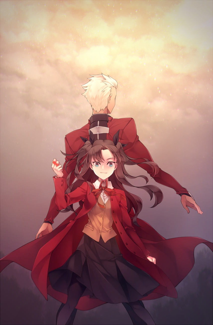 archer and toosaka rin (fate/stay night and etc) drawn by ym (snovee)