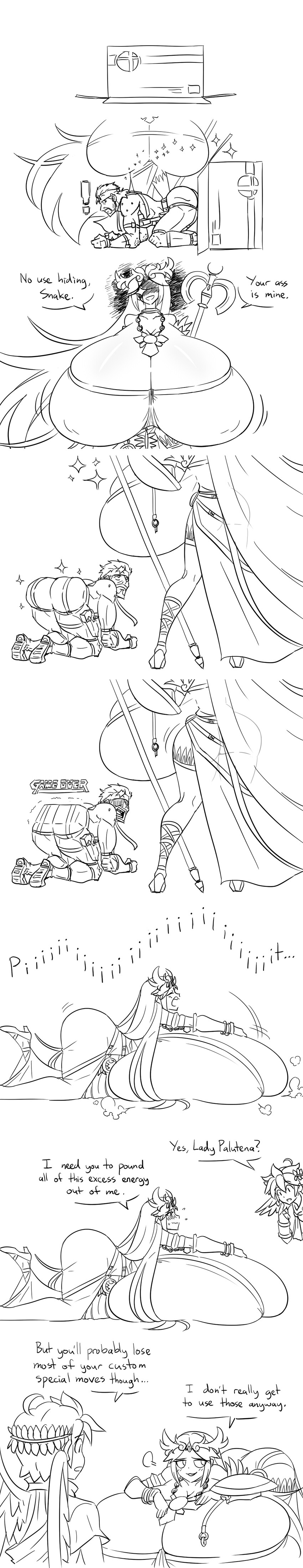 palutena, pit, and solid snake (kid icarus, metal gear (series), metal gear solid, super smash bros., and super smash bros ultimate) drawn by matsu-sensei