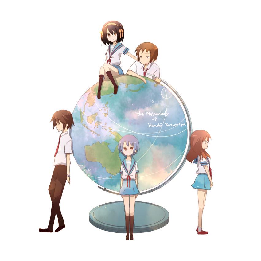 asahina mikuru, koizumi itsuki, kyon, nagato yuki, and suzumiya haruhi (suzumiya haruhi no yuuutsu) drawn by kinokosuke