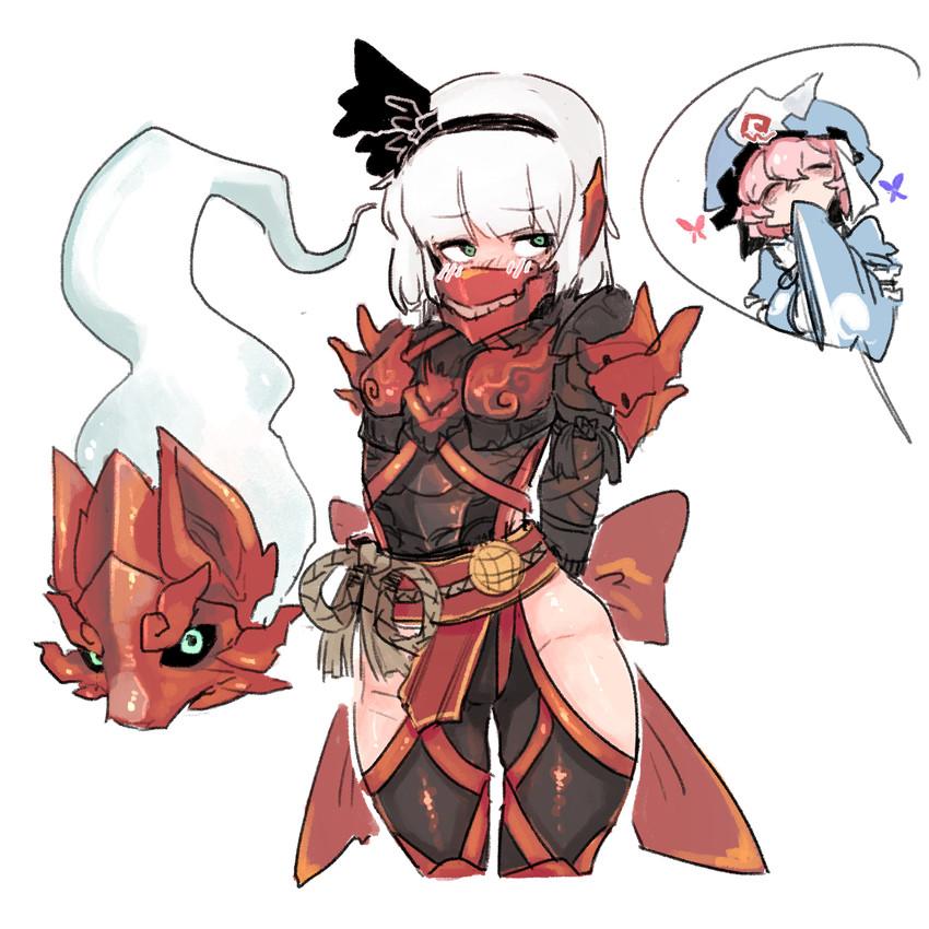 konpaku youmu, konpaku youmu, odogaron, and saigyouji yuyuko (monster hunter, monster hunter: world, and touhou) drawn by pigeoncrow