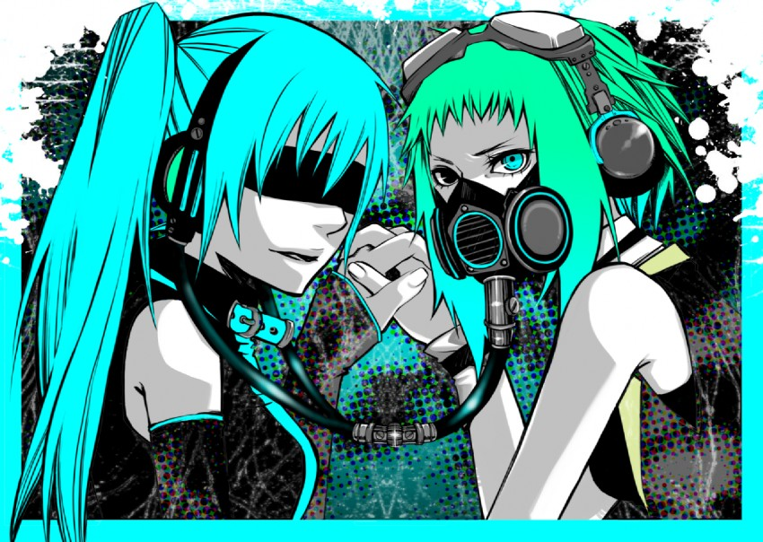 gumi and hatsune miku (vocaloid) drawn by drahtpuppe