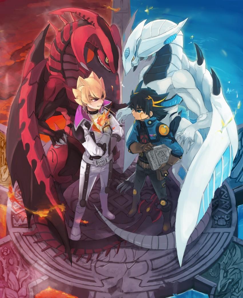 fudou yuusei, jack atlas, red nova dragon, and shooting star