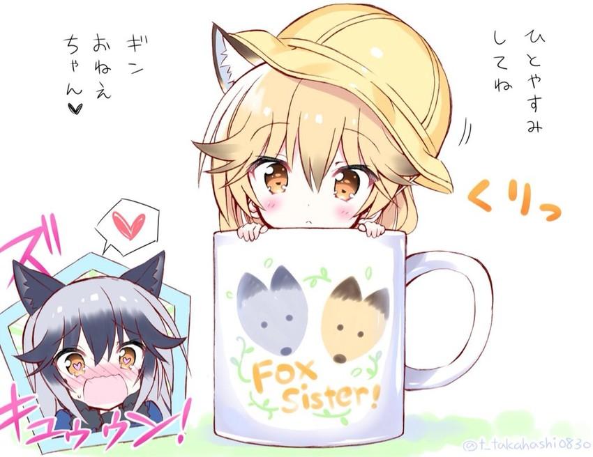 ezo red fox and silver fox (kemono friends) drawn by takahashi tetsuya