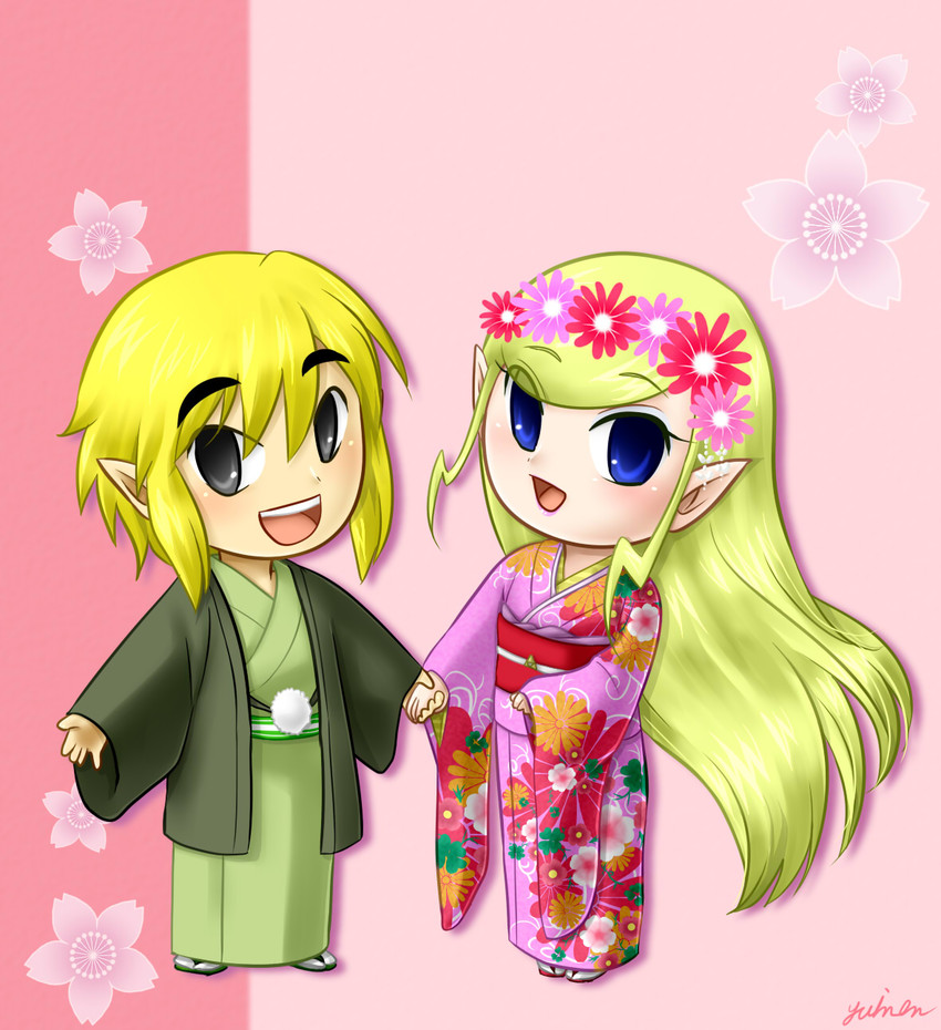 link, princess zelda, and toon link (the legend of zelda) drawn by yuino (fancy party)