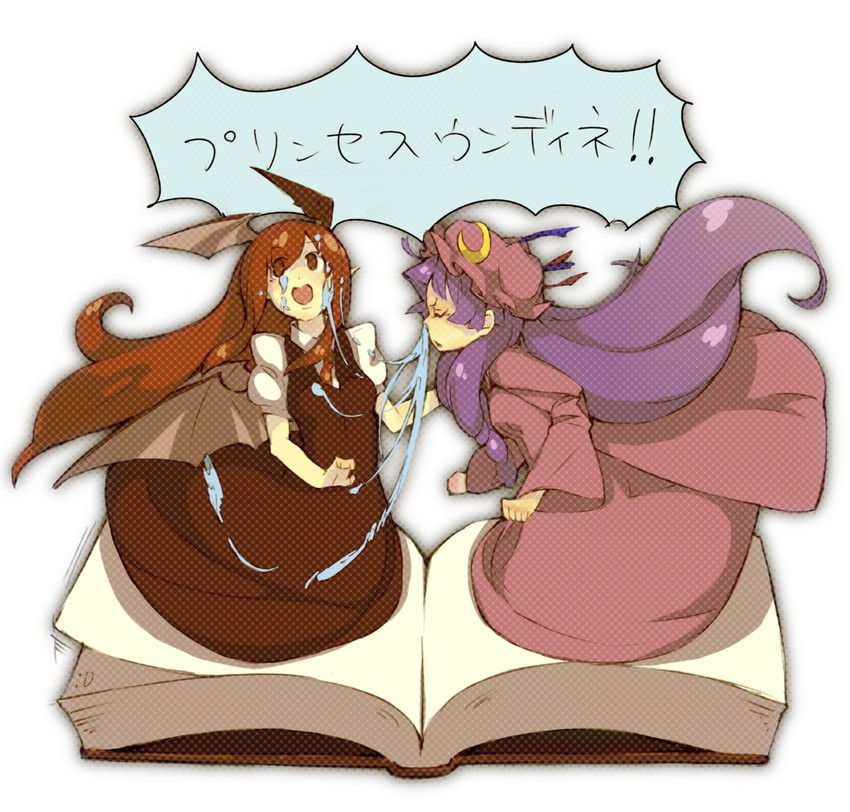 koakuma and patchouli knowledge (touhou) drawn by pisoshi
