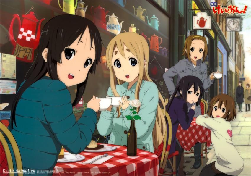 akiyama mio, hirasawa yui, kotobuki tsumugi, nakano azusa, and tainaka ritsu (k-on! and k-on! movie) drawn by akitake seiichi, ooishi nozomi, ura akihiro, and yoneda yuka