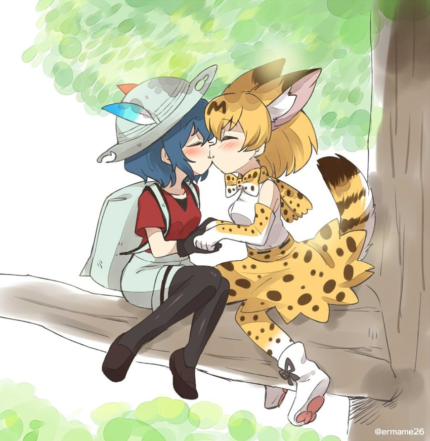 kaban and serval (kemono friends) drawn by eromame