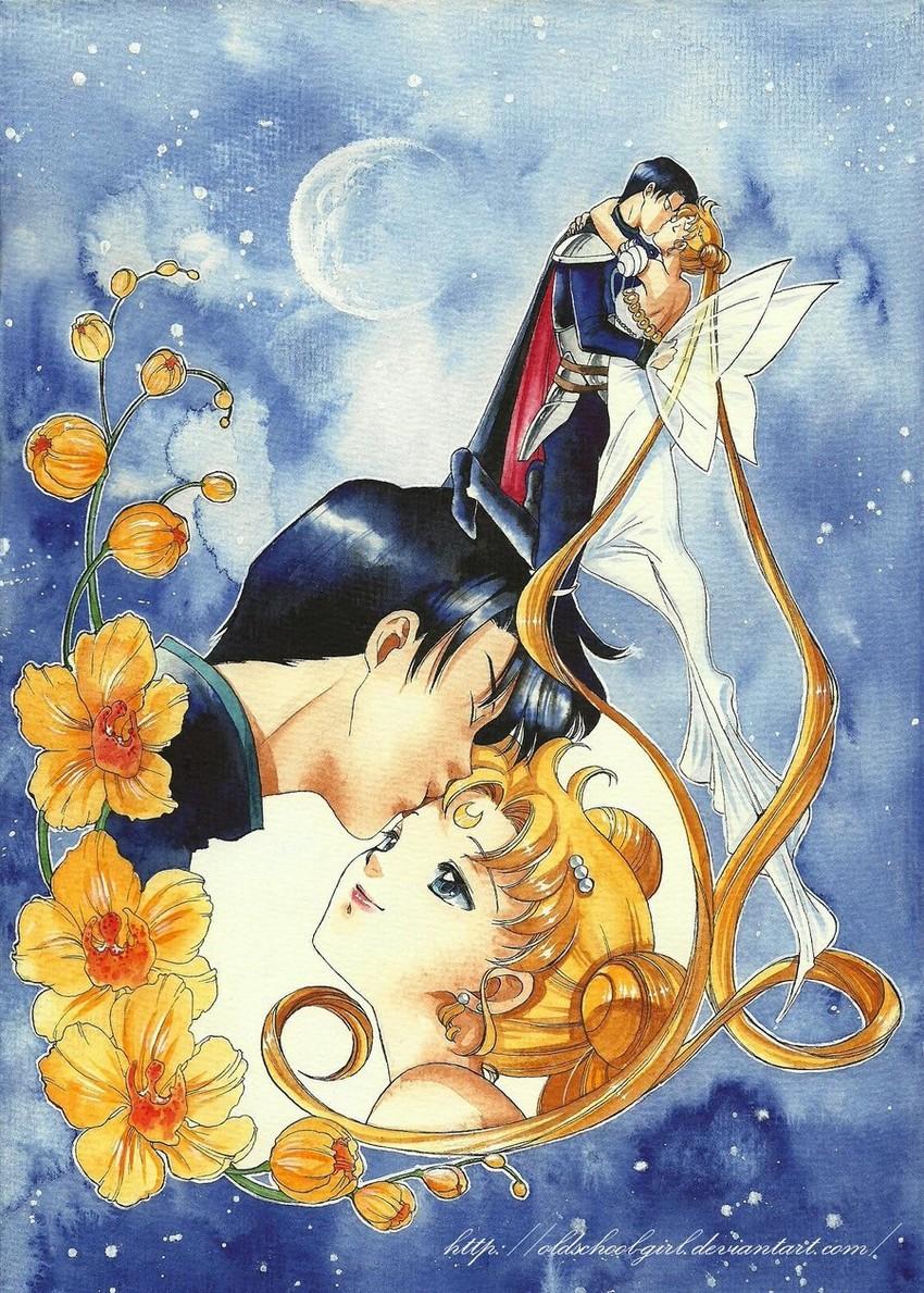 chiba mamoru, endymion, princess serenity, and tsukino usagi (bishoujo senshi sailor moon) drawn by oldschool-girl