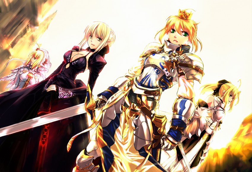 artoria pendragon, nero claudius, nero claudius, saber, saber alter, and others (fate/extra, fate/extra ccc, fate/stay night, fate/unlimited codes, and fate (series)) drawn by jian huang