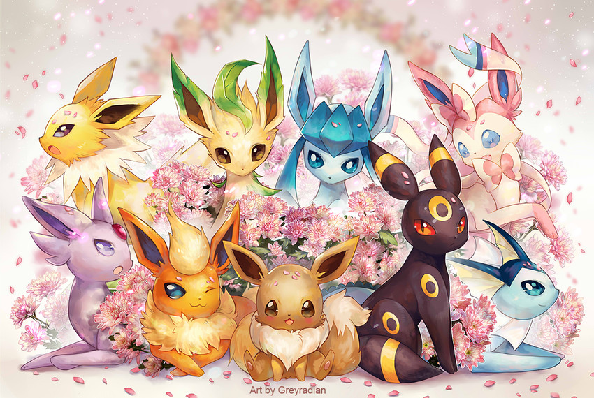 eevee, espeon, flareon, glaceon, jolteon, and others (pokemon) drawn by stephanie lee
