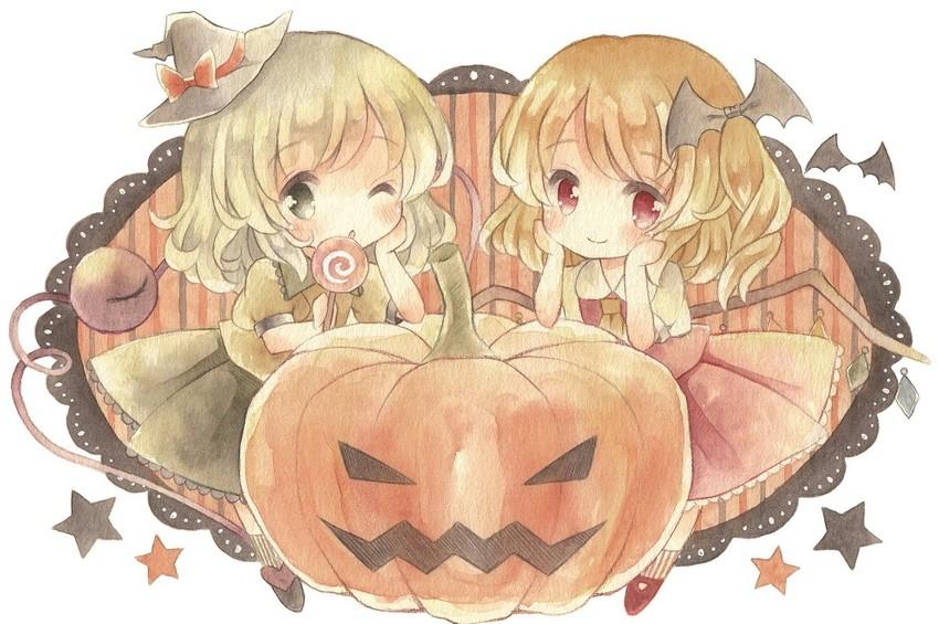flandre scarlet and komeiji koishi (touhou) drawn by kagome f