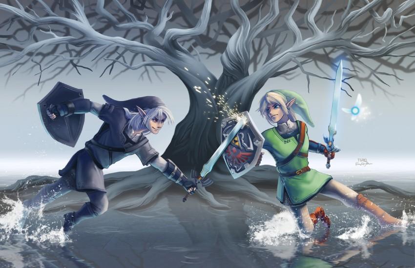 dark link, link, and navi (the legend of zelda: ocarina of ...