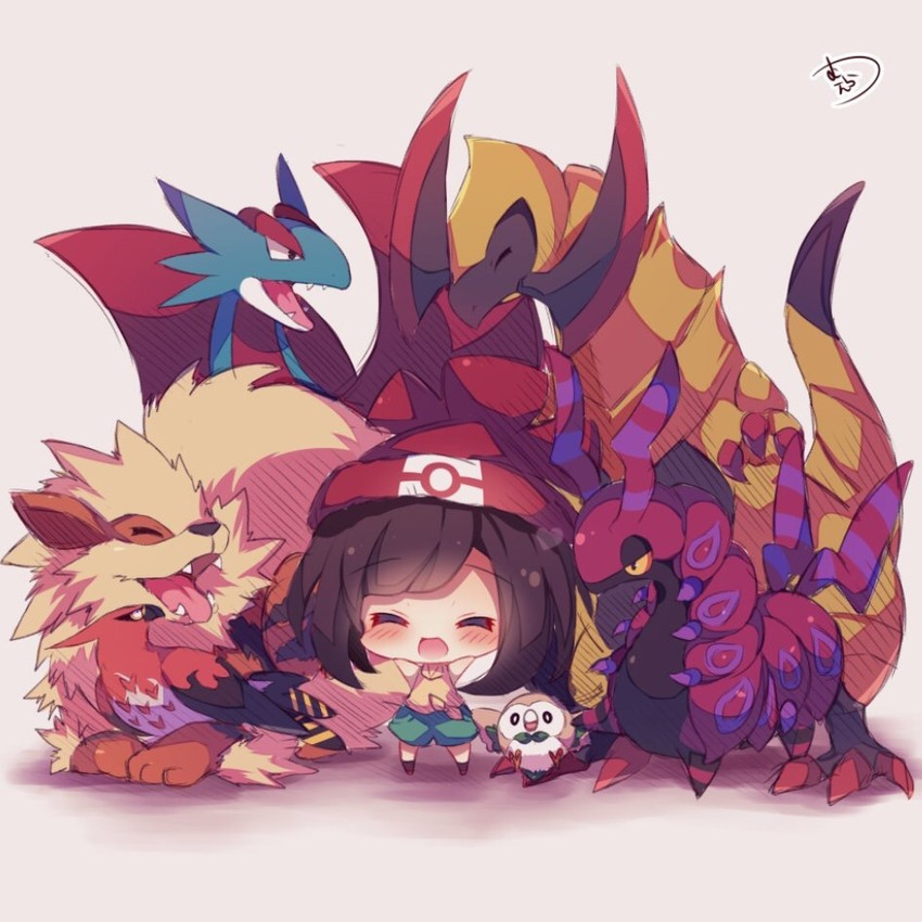 mizuki, talonflame, salamence, scolipede, arcanine, and etc (pokemon (game) and etc) drawn by muuran