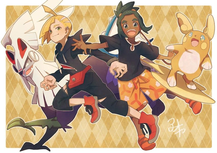 alolan raichu, gladio, hau, raichu, and silvally (pokemon, pokemon (game), and pokemon sm) drawn by aoya (ayoyame18)
