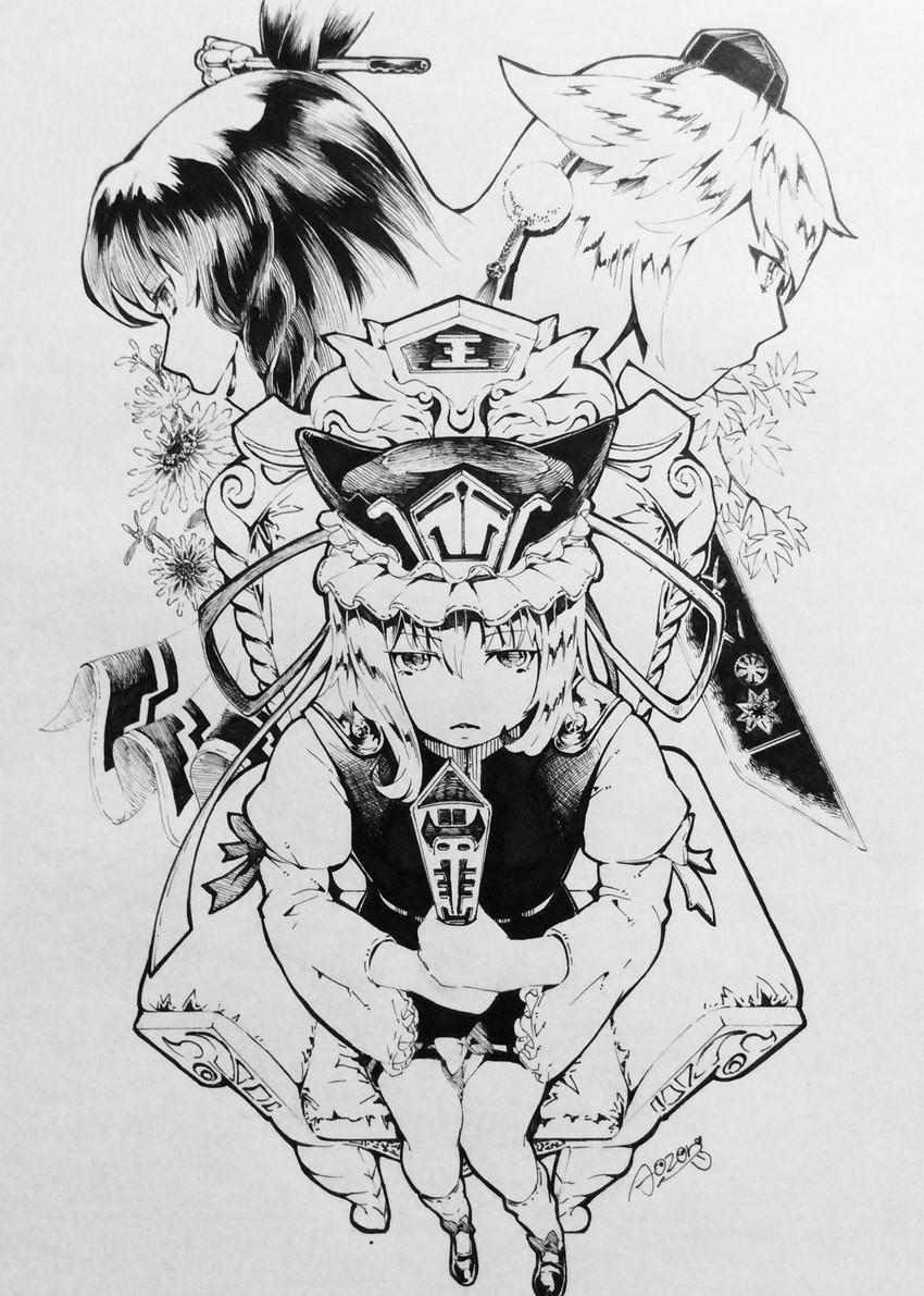 inubashiri momiji, kaku seiga, and shiki eiki (touhou) drawn by aozora taf