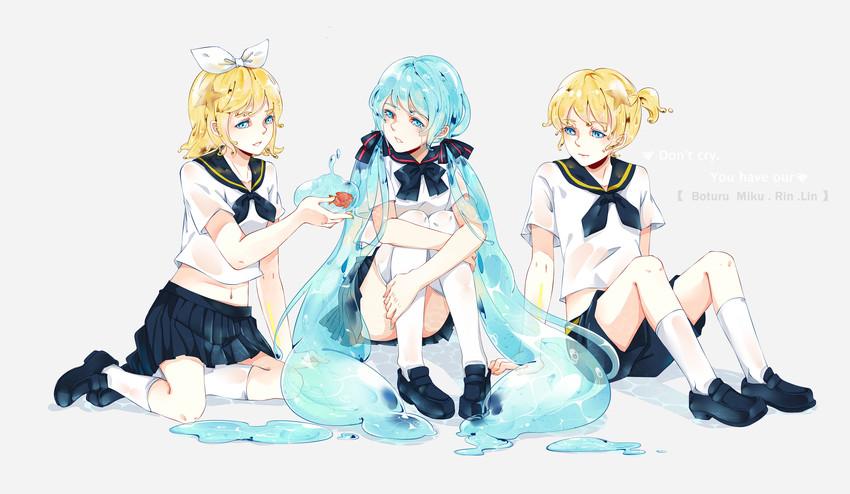bottle len, bottle miku, bottle rin, hatsune miku, kagamine len, and others (vocaloid) drawn by yaoshi jun