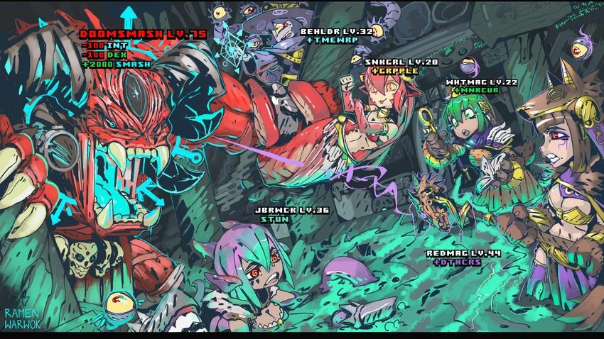 anubis, gazer, jabberwock, and miia's mother (dungeons and dragons, monster girl encyclopedia, and monster musume no iru nichijou) drawn by ramenwarwok