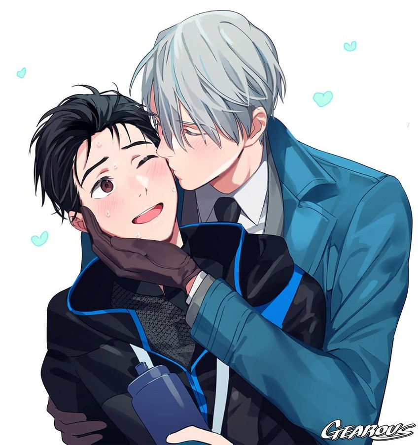 katsuki yuuri and viktor nikiforov (yuri!!! on ice) drawn by gearous