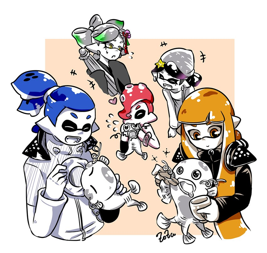 hotaru, aori, pudding, denchinamazu, donut, and etc (splatoon 2: octo expansion and etc) drawn by zoza