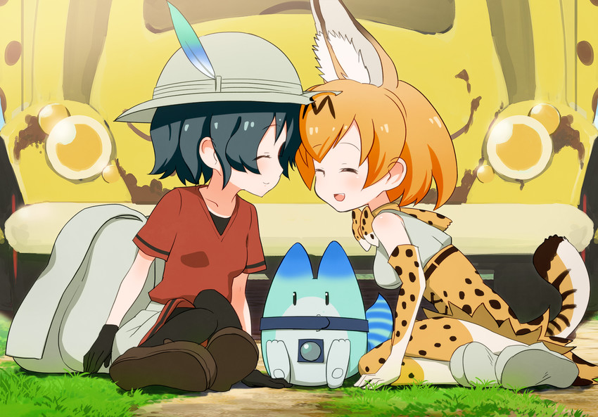 kaban, lucky beast, and serval (kemono friends) drawn by sat-c