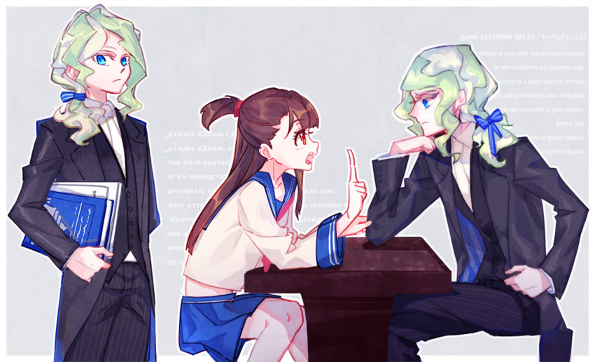 diana cavendish and kagari atsuko (little witch academia) drawn by milk puppy