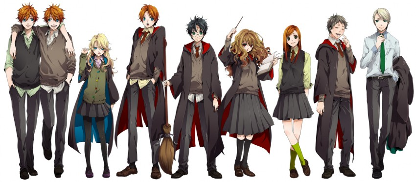 draco malfoy, fred weasley, george weasley, ginny weasley, harry james potter, and others (harry potter) drawn by nakagawa waka