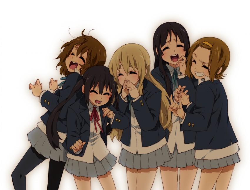akiyama mio, hirasawa yui, kotobuki tsumugi, nakano azusa, and tainaka ritsu (k-on!) drawn by takanashi ringo