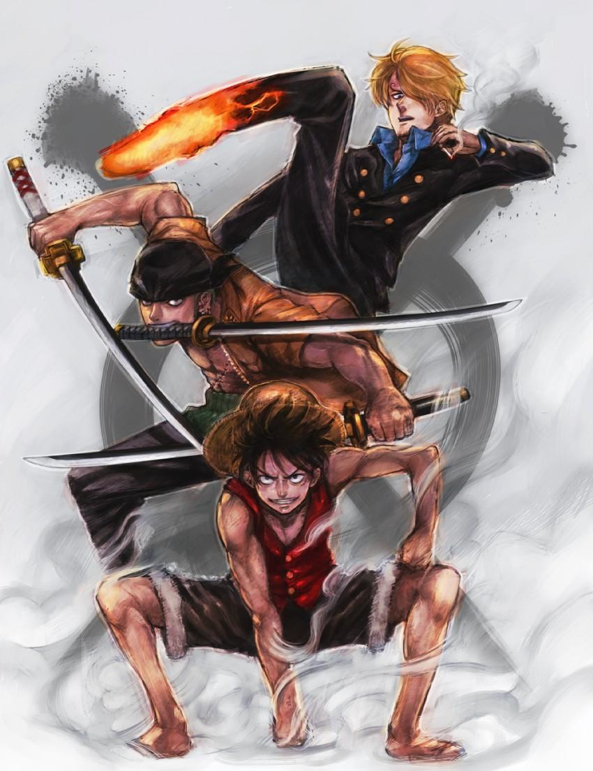 Monkey D Luffy Roronoa Zoro And Sanji One Piece Drawn By Boyaking Danbooru
