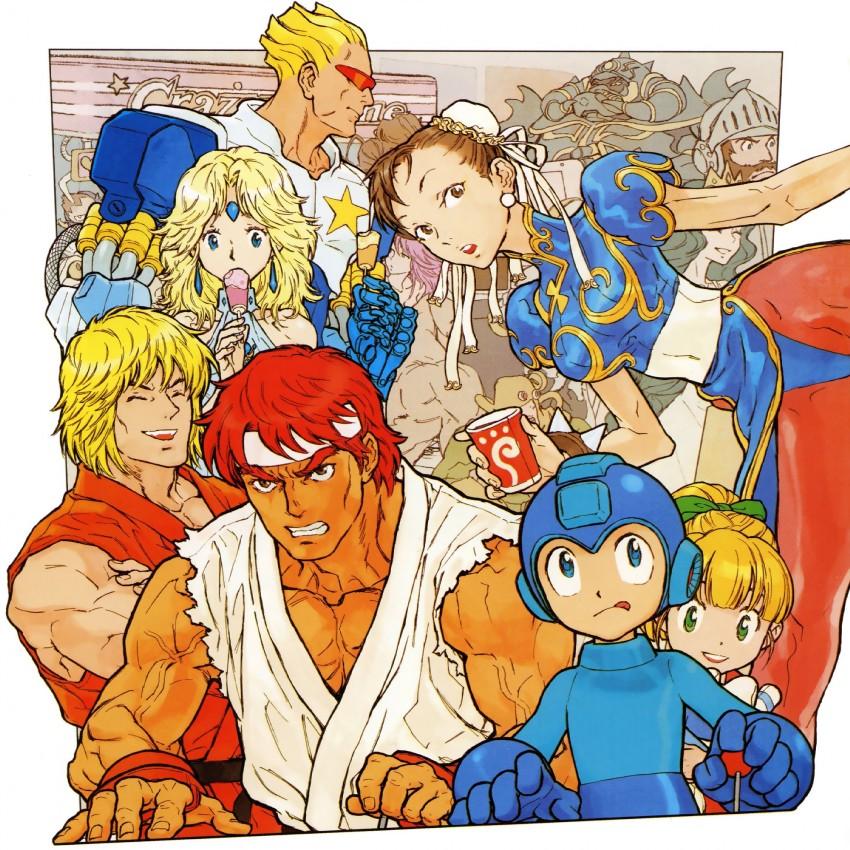captain commando, chun-li, hibiki dan, ken masters, poison, and others (capcom, captain commando, final fight, lost worlds, makaimura, and others) drawn by nishimura kinu
