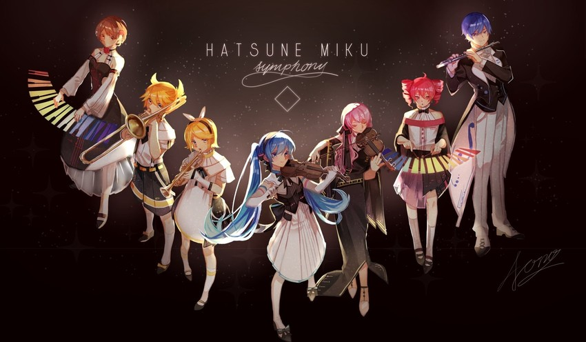 megurine luka, hatsune miku, kagamine len, kagamine rin, kasane teto, and etc (miku symphony (vocaloid) and etc) drawn by aono 99