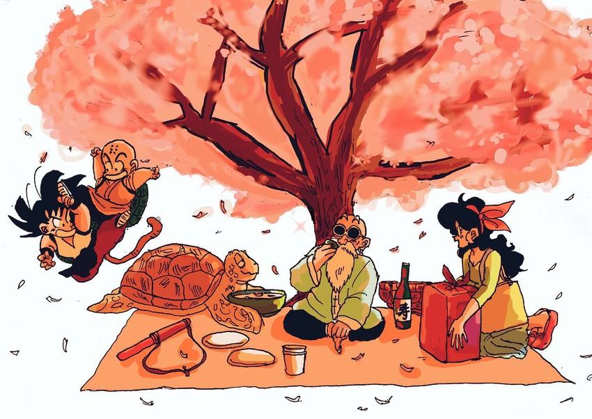 kuririn, lunch, muten roushi, son gokuu, and umigame (dragon ball (classic) and etc) drawn by aida kaiko