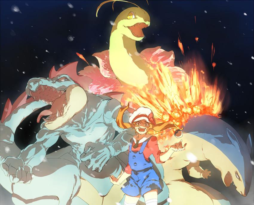 feraligatr, kotone, meganium, and typhlosion (pokemon, pokemon (game), and pokemon hgss) drawn by gesuidou (hephaestus1214)