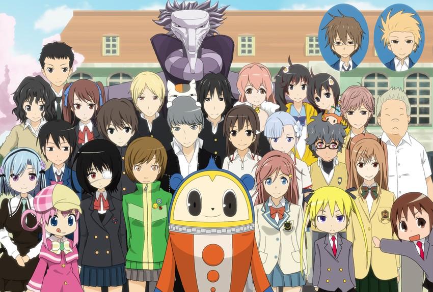akazawa izumi, araragi karen, araragi tsukihi, ayase chihaya, deus ex machina, and others (amagami, ano natsu de matteru, another, bakemonogatari, chihayafuru, and others) drawn by whatfull