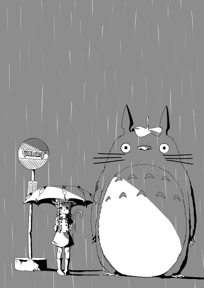 hungern, totoro, and umbrella (skullgirls and tonari no totoro) drawn by blurry (artist)