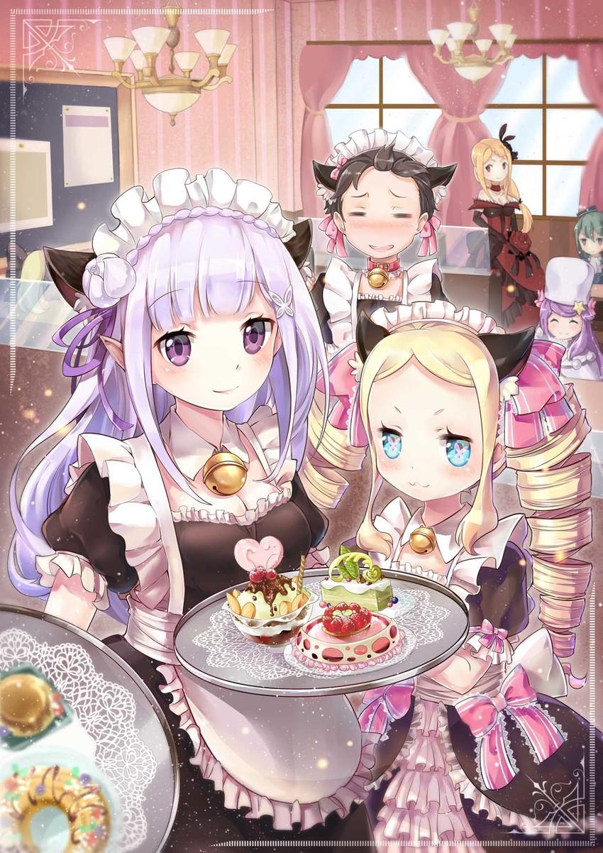 Emilia Natsuki Subaru Beatrice Crusch Karsten Priscilla Barielle And 1 More Re Zero Kara Hajimeru Isekai Seikatsu Drawn By Death The Cat Danbooru