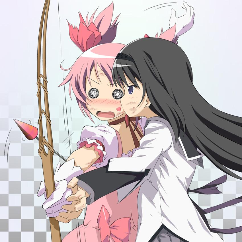akemi homura and kaname madoka (mahou shoujo madoka magica) drawn by hiraizumi (mugenkidousha)
