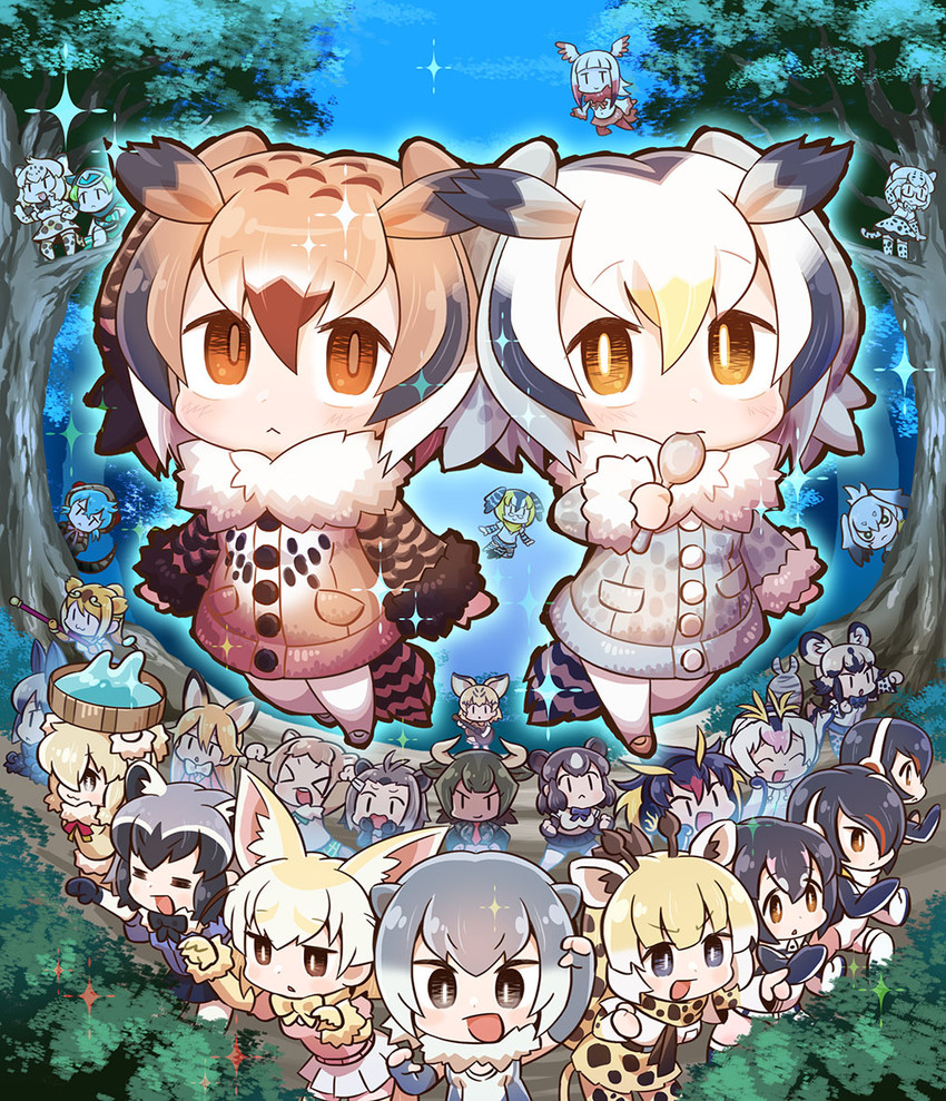 african wild dog, alpaca suri, american beaver, aurochs, black-tailed prairie dog, and others (kemono friends) drawn by chaki (teasets)