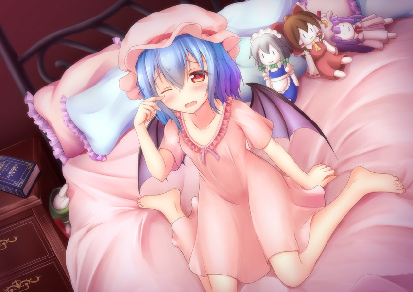 hakurei reimu, hong meiling, izayoi sakuya, patchouli knowledge, and remilia scarlet (touhou) drawn by nullpuni