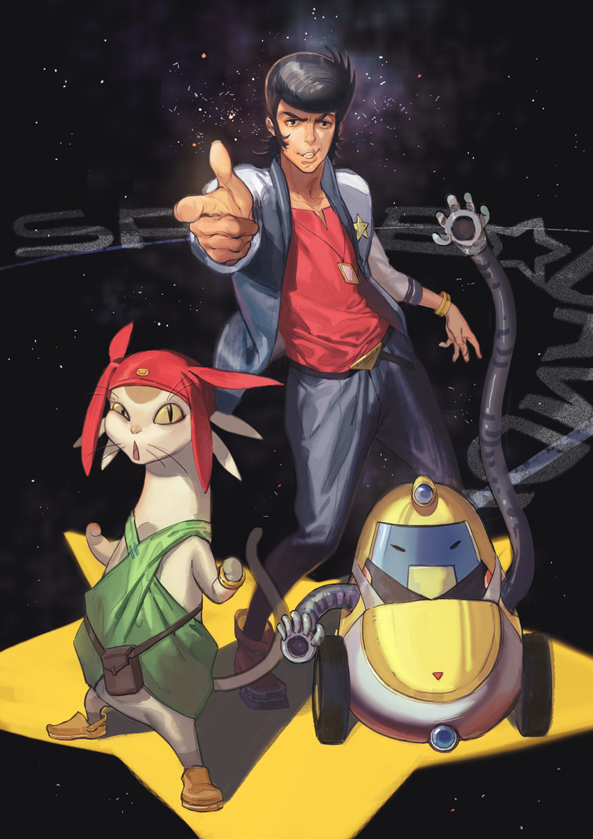 Dandy, meow, and qt (space dandy) drawn by naked_cat