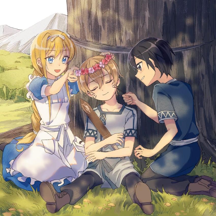 Kirito Alice Zuberg And Eugeo Sword Art Online Drawn By Nauxii Danbooru