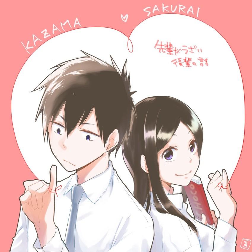 kazama and sakurai (senpai ga uzai kouhai no hanashi) drawn by takenyoko kurano