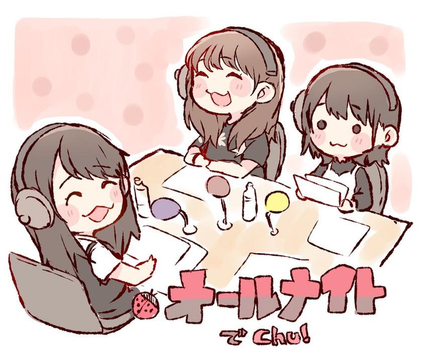 kojima mako, shibuya nagisa, and tomonaga mio (real life and etc) drawn by taneda yuuta